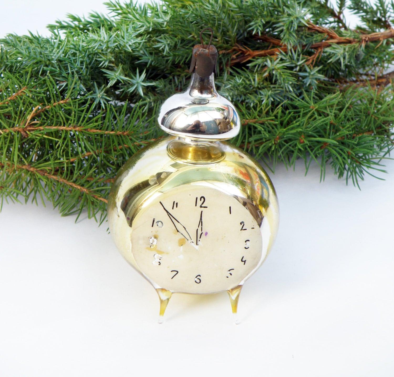 RARE Hand Blown Glass Clock Christmas Ornament Antique