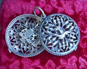 Antique French Silver Crown Dragon Heraldic Slide Locket Pendant