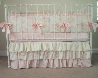 Vintage Floral Shabby Chic Baby Pink and Ivory / Cream Baby Girl Crib Cot Bedding