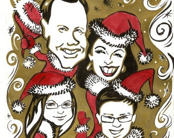 Caricature Christmas card of your family. Personalized greeting card.