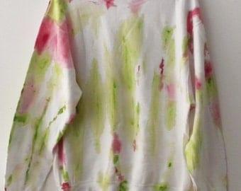Tie dye Crewneck Sweatshirt, Ugly Christmas sweatshirt, grunge, sweater, green, red, jumper, abstract art, hand painted sweatshirt, rocker