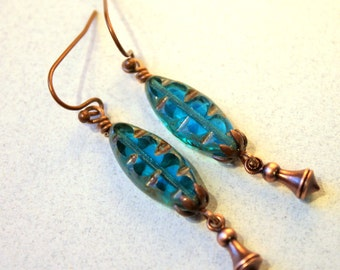 Aqua Blue Earrings, Antiqued Copper Dangles, Czech Glass Spindle Beads, Pendulum Dangles, Boho, Rustic, Delicate, Uniquely Beautiful!