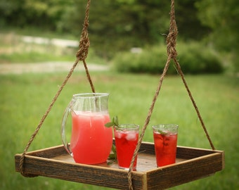 Hanging outdoor beverage tray – Suspended patio serving tray – Outdoor bar – Reclaimed wood hanging shelf – Drink service – Patio furniture