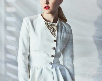 Womens slim fit white jacket, white peplum jacket, women suits, white blazer, peplum blazer, skirt suit, office wear, wedding jacket