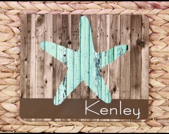 Personalized Housewarming Gift Beach Theme Rustic Starfish Trivet Rustic Nautical Home Decor Personalized Monogram Hotplate Hostess Gift