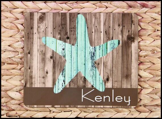 Personalized Housewarming Gift Beach Theme Rustic Starfish Trivet Rustic Nautical Home Decor Personalized Monogram Hotplate Hostess Gift