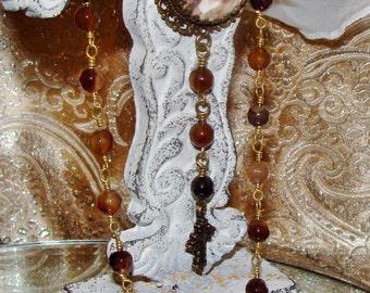 Christ rosary prayer gemstone necklace