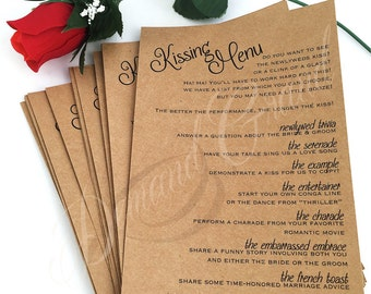 Kissing Menu - perfect for reception games, engagement party, anniversary party etc.