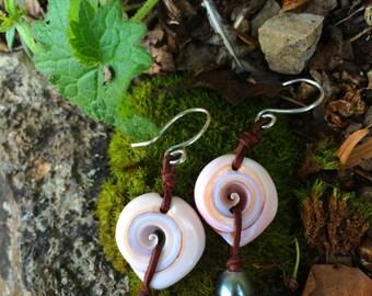 Tahitian black pearls  and silver women earrings