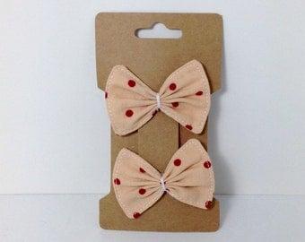 Handmade Peach Polka Dot Fabric Bow Hair Clips {Set of 2}