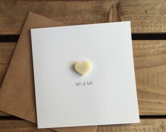 Mr & Mr Wedding Day Card with Ivory detachable Love Heart magnet keepsake