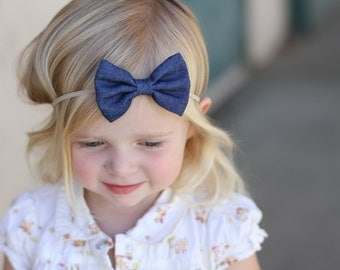 Denim Bow Headband, Baby Girl Headband, Denim Headband, Baby Bow Headband, Newborn Headband, Baby Gift, Infant Headband