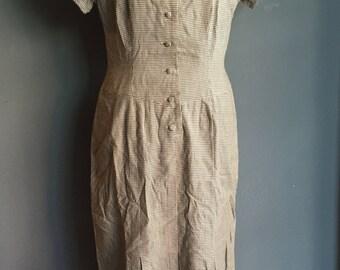 Vintage 60s Checked Plaid Shinori Loose dress S M black and white