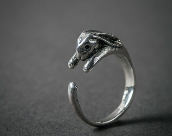 Sterling Silver Rabbit Ring. Adjustable Bunny Ring. Bunny Wrap Ring. Animal Ring. Hare Ring.
