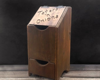 Wood Potato And Onion Storage Bin - Taters N' Onions - Farmhouse - Country Cottage - Vintage