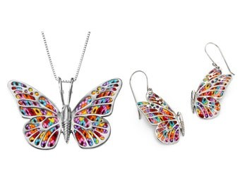 "Butterfly Necklace and Dangle Earrings – 925 Sterling Silver Handmade Multicolored Millefiori Polymer Clay Jewelry Set - 16.5"" Chain"