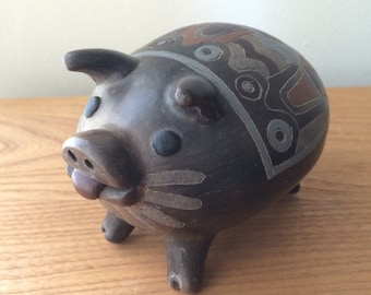Vintage Tonala Pig with Whiskers and Sticking Tongue in Earthy Tones