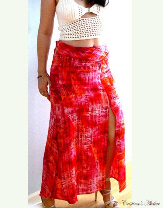 Sorbet maxi slit skirt- Red boho summer skirt- Women skirt- Orange pink skirt - Slit long casual skirt- Sexy fashion  skirt- Tie dye skirt