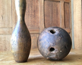 Antique Wood Bowling Ball, Two Hole Bowling Ball, Late 1800s Primitive Wooden 2 Hole Bowling Ball, Sports Gift, Bowling Gift