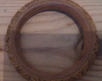 vintage carved wood bangle