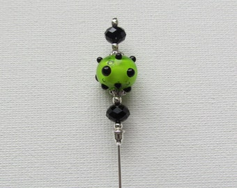 Green/Black Glass Antique Silver Plated Hat Pin, Stick Pin, Hijab Pin