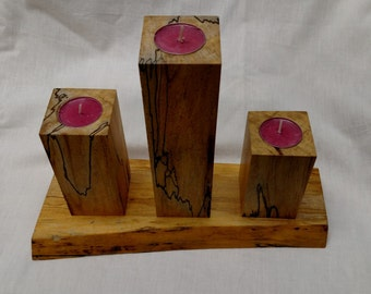 3 Tiered Tea Light Candle holder - Spalted Maple