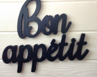 Bon Appetit Handmade Wood Wall Sign cutout French kitchen choose color