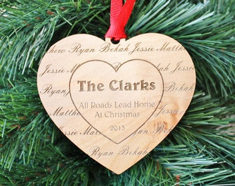 SHIPS FAST, Custom Family Ornament, Engraved Wood Christmas Ornament, Personalized Ornament, Custom Holiday Ornament, Christmas Gift, ORN08