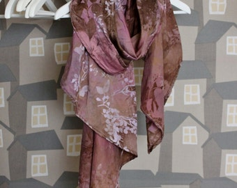 Upcycled Silk Scarf, Autumn Silk Scarf, Brown/Pink Silk Scarf
