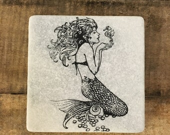 Mermaid Stone Coasters, Tumbled Marble, Home Decor, Set of Coasters