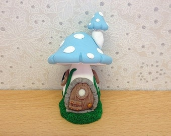 Clay Fairy House, Fairy Cottage, Fairy Home, Blue Toadstool
