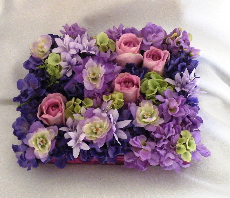 Box floral arrangement home decor silk artificial flowers for Arrangement floral artificiel