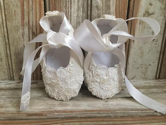 Baby All Lace Beaded Shoe First Walkers- Christening-Flower Girl- Easter-Christmas Ivory Baptism Soft Baby Shoe