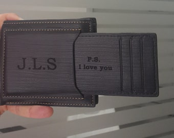 Mens Wallet, Personalized Wallet, Engraved Mens Wallet, Leather Wallet, Gift For Men, Monogram Wallet, Fathers Day, Christmas Gift, Mens