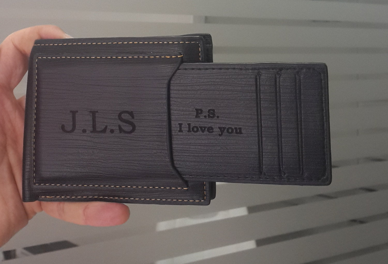 Mens Wallet Personalized Wallet Engraved Mens Wallet By