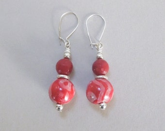 Candy Earrings with Red Kazuri Beads