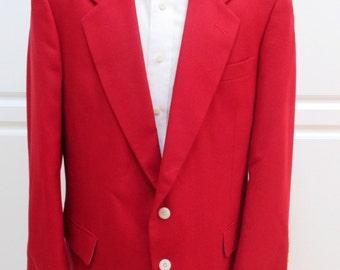43R Christmas Red Blazer,  Red Sport Coat, Red Blazer, Men's red jacket, Holiday Red Blazer