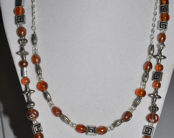 Silver Necklace Double Strand Amber Orange #494