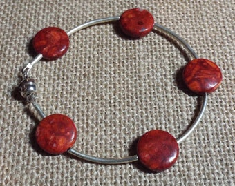 "Silver Bracelet Red Agate ""Count Your Blessings"" #390"