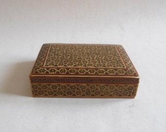 vintage inlaid micromosaic Persian khatam box
