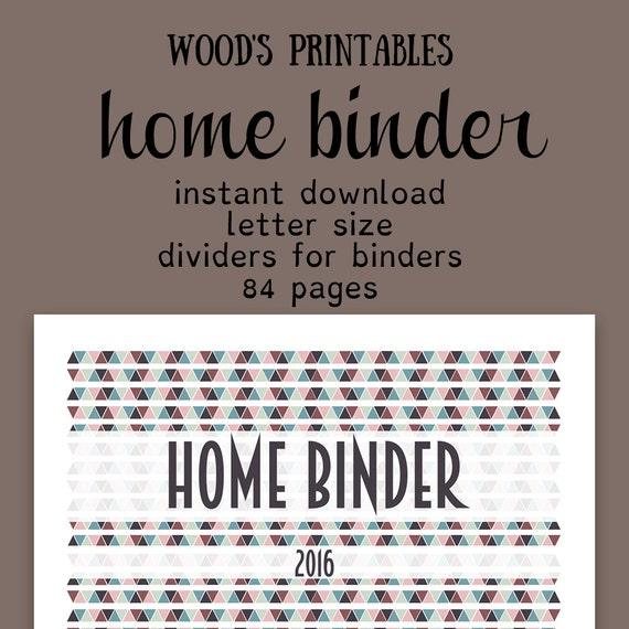 Home binder pdf printable financial planner by woodsprintables for Home planning binder