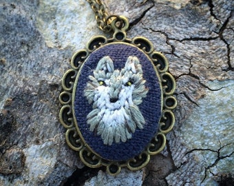 Wolf Necklace-  wild animal, wolf pack, mountains, forest animal, dog