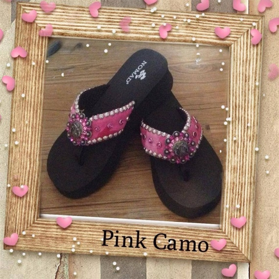 Bling Camo Flip Flops Pink Camo With By Jujusjewelsflipflops-6601
