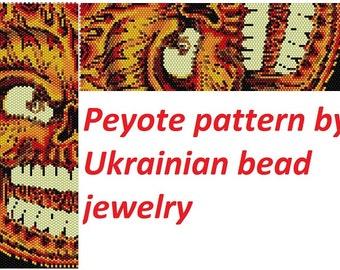 Halloween pattern Fire sugar skull pattern black skull peyote pattern delica tutorial DIY gothic skull gift original pattern day of the dead