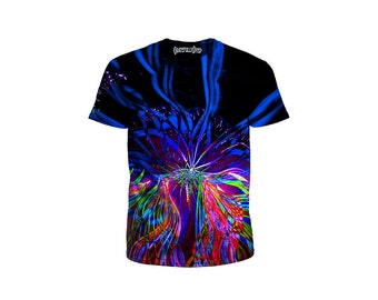 Festival Light Show Art T Shirt - Concert Clothing - Graphic Tee - Psychedelic EDM Apparel - Rave Wear