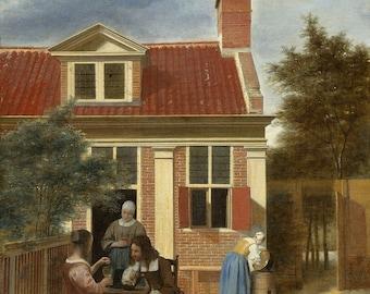 """Pieter de Hooch : """"Figures in a Courtyard Behind a House"""" (c. 1663 - c. 1665) - Giclee Fine Art Print"""