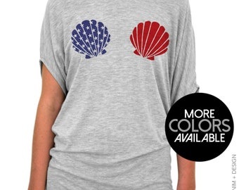 Patriotic Shirt, American Flag Mermaid Seashells, Off the Shoulder Slouchy Tee, Fourth of July, Memorial Day, BBQ Shirt, Red White & Blue