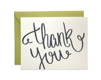 Hand Lettered Thank You Card, Recycled Card, Thanks Greeting Card