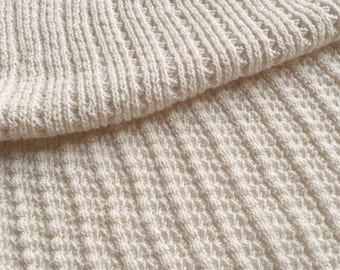 Natural White Sustainable Cotton Sweater Knit, Textured Rib Fashion Fabric by the half yard - Saratoga Rib