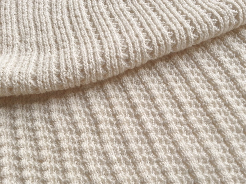Natural White Sustainable Cotton Sweater Knit, Textured Rib ...